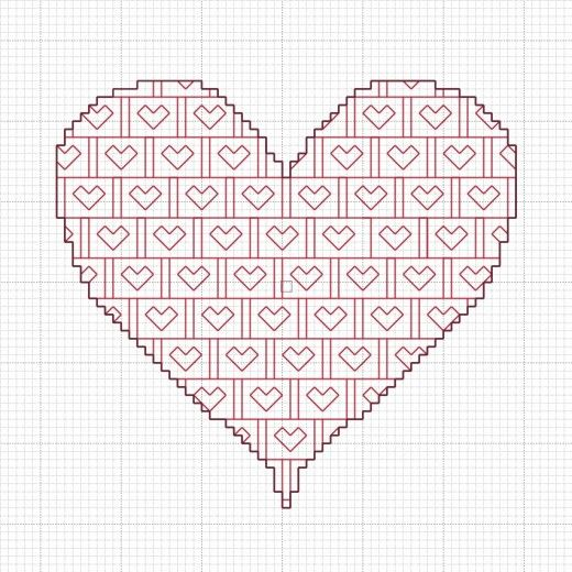 Free Blackwork Valentine's Heart Pattern.