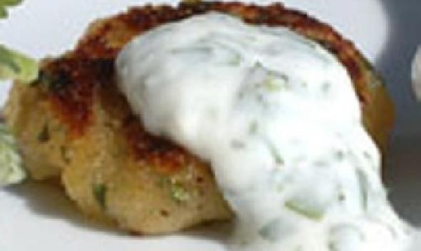 Sweet Potato Cake with Cilantro Yogurt recipe picture