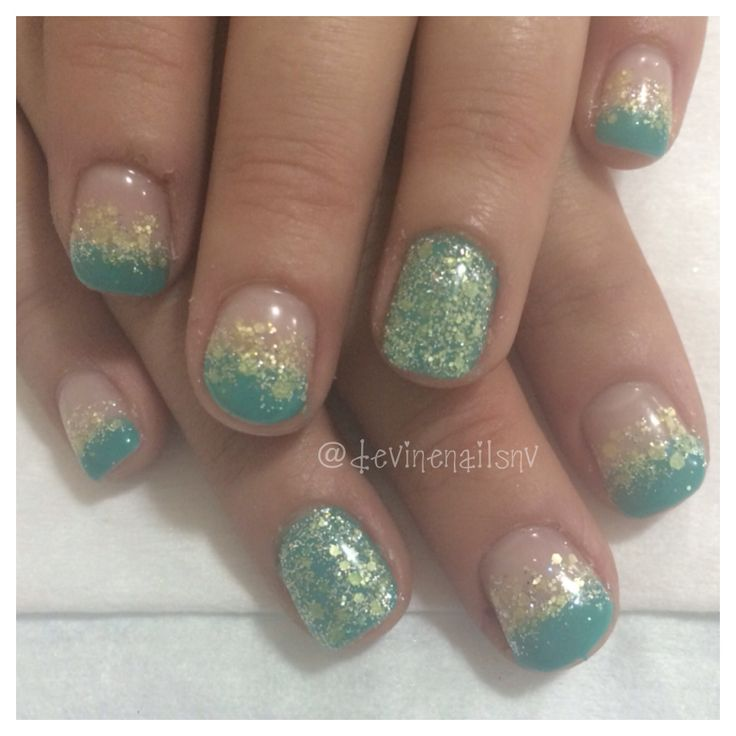 Teal and yellow gel nails @devinenailsnv | Nails by Chelsea Devine
