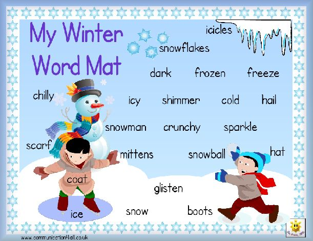 Communication4all.co.uk Winter word mat. JG