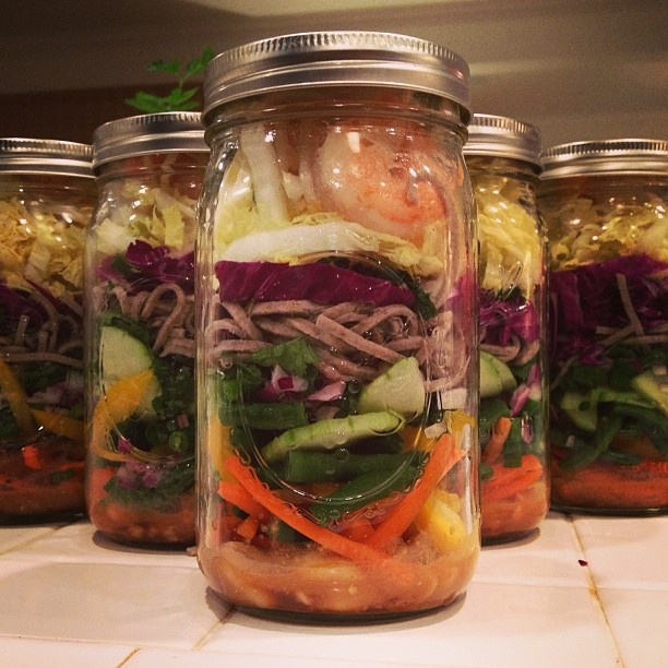 ... onions, red onions, soba noodles, red and napa cabbage, sprouts