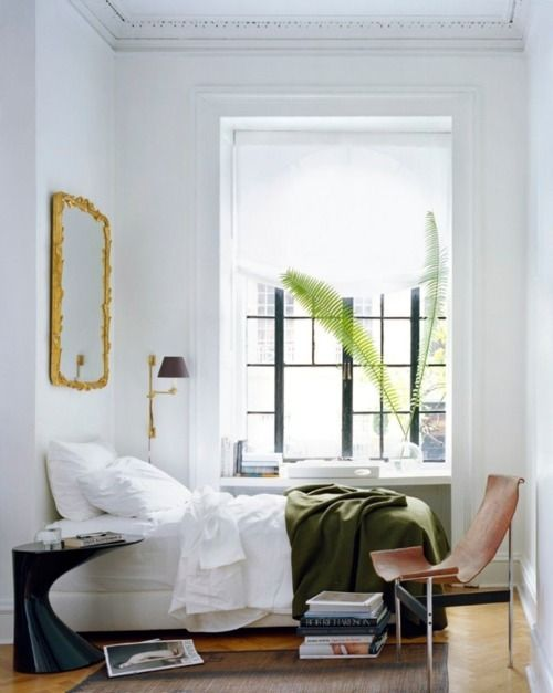 White, casual bedroom