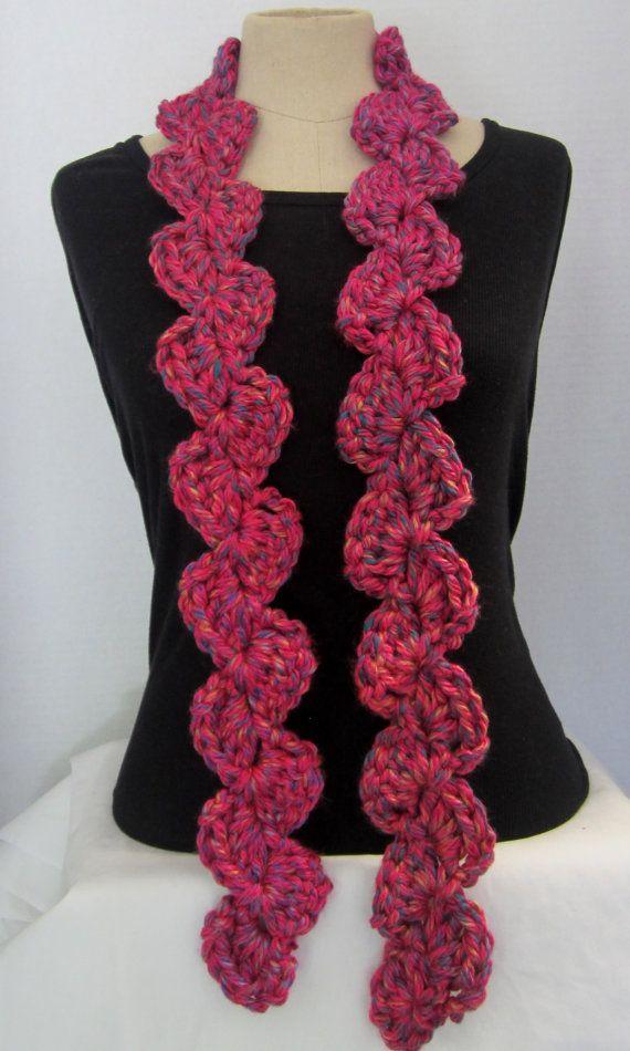 crochet scarf fancy crochet scarf pink blue yellow