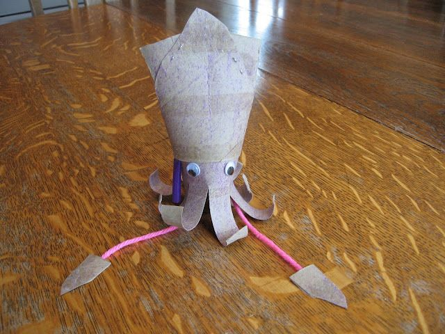 Almost Unschoolers: Science Craft - Toilet Paper Tube Squid