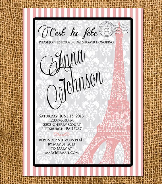 Paris Themed Bridal Shower Invitations is an amazing ideas you had to choose for invitation design