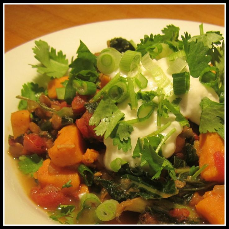 Curried Lentils with Sweet Potatoes and Kale - delicious # ...
