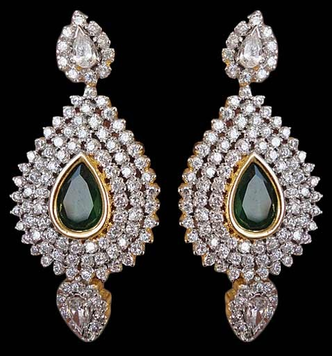 green and white studded fashion earring