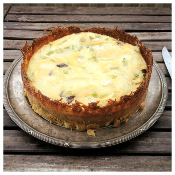 Goat Cheese #Quiche with Hash Brown Pie Crust #gluten-free