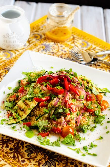 Grilled vegetalbe quinoa salad.....( I skip the oil in salad recipes)