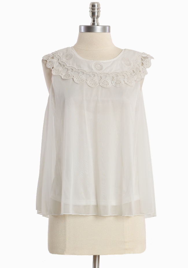 """Summer Evening Lace Collar Top 36.99 at shopruche.com. A beautiful trapeze silhouette lends ethereal charm to this white semi-sheer top accented with a crocheted cotton collar and a back button keyhole closure. Fully lined.Self: 100% Polyester, Contrast:100% Cotton, Lining: 100% Polyester, Imported, 22.5"""" length from top of shoulders"""