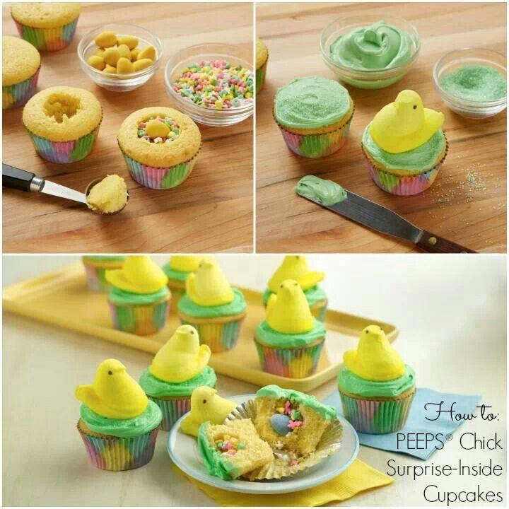 Peeps Easter cupcakes with candy surprise in the middle~so cute!