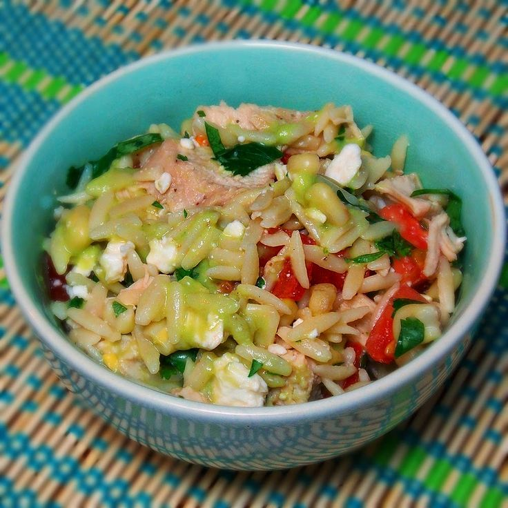 Orzo Chicken Salad with Avocado Lime Dressing #avocado #chicken # ...