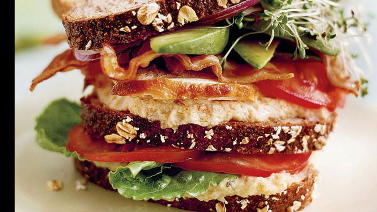 Club Sandwich features a white bean spread, avocado and bean sprouts ...