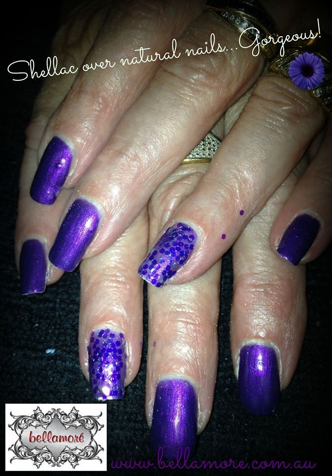 Gorgeous purple, shellac over natural nails. Get in touch for a nail