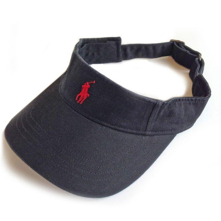 polo ralph lauren visor cap hat black red pony tennis. Black Bedroom Furniture Sets. Home Design Ideas