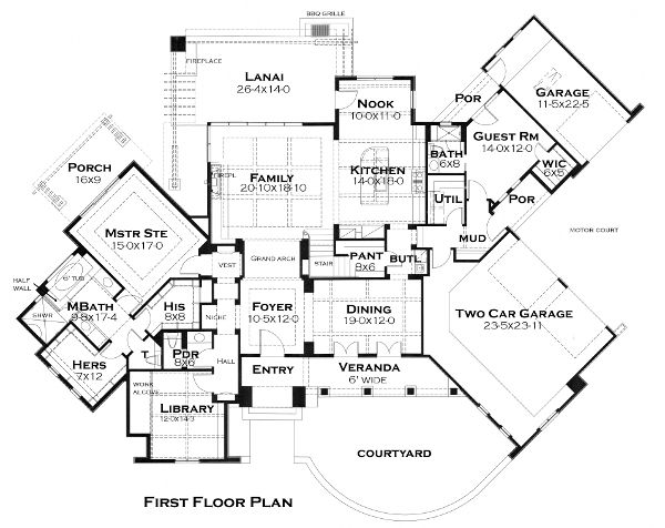 Cottage craftsman european french country house plan 75135 for French cottage floor plans