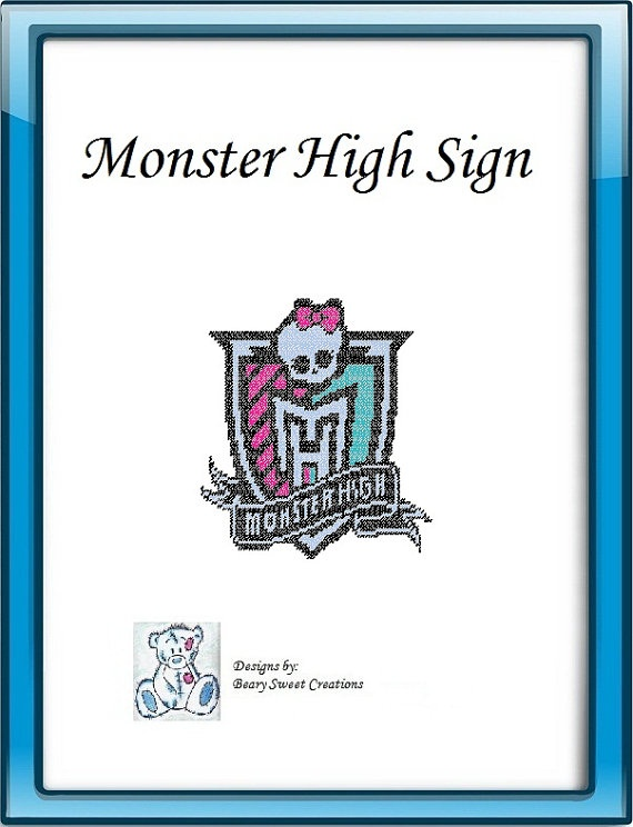 Monster High Plastic Canvas Sign Pattern by | Plastic Canvas & Cr