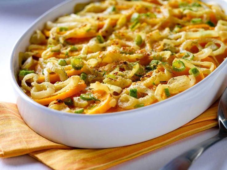 ... Fennel Gratin? http://silk.com/recipes/butternut-squash-and-fennel