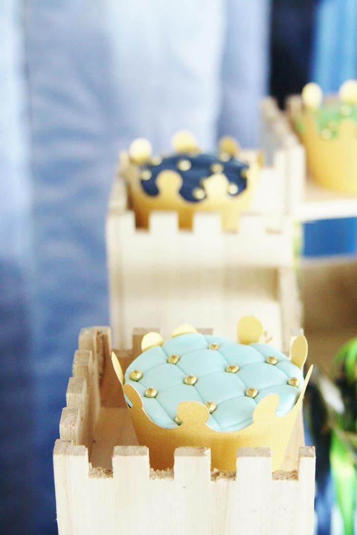 cupcakes at a little prince baby shower with full of darling ideas via