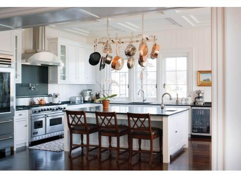 Kitchen Island Designs  Seating on Port Of Call   New England Home  Island Seating  Hanging Pot Rack