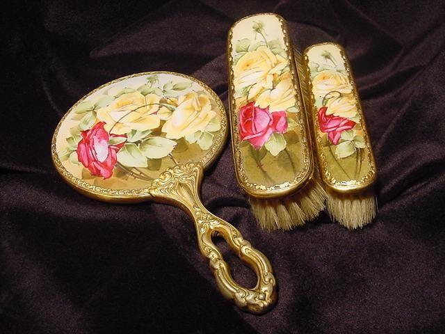 Французского Лиможа свинка декоратором зеркальце и кисти Ручная роспись