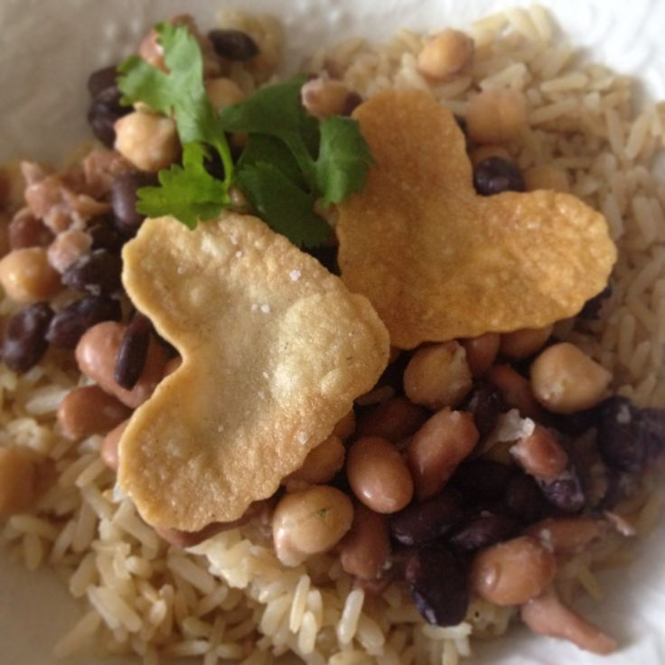 Brown rice, beans, and heart shaped corn tortillas cooked with coconut ...