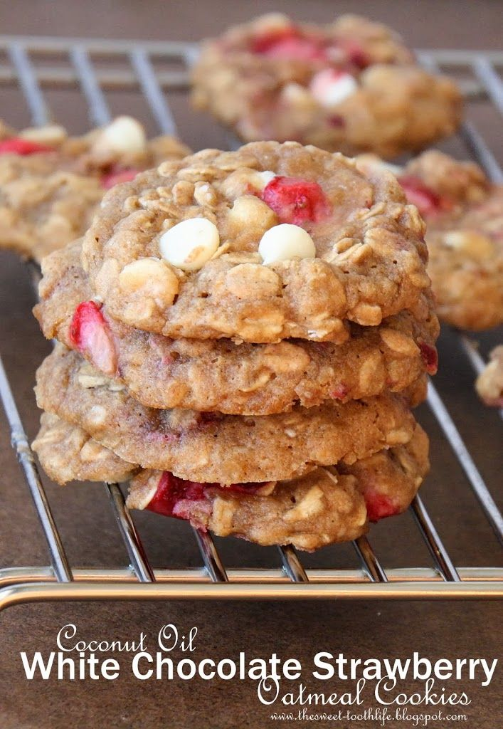 Coconut Oil Strawberry White Chocolate Oatmeal Cookies - The Sweet ...