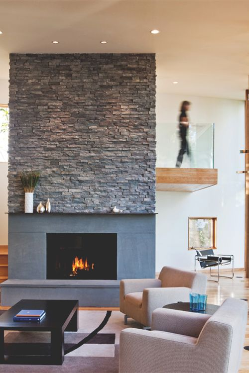 stacked stone fireplace  Living Spaces  Pinterest