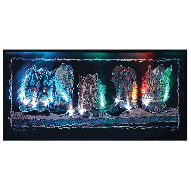 Electric Cowboy Led Canvas Wall Art Home On The Range