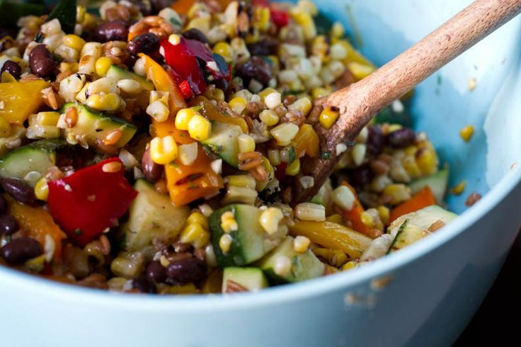 Long Weekend Grilled Salad - grilled corn, peppers, zucchini, black ...
