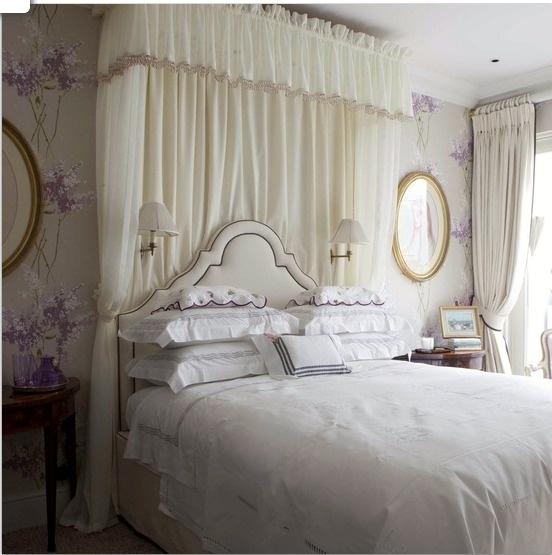 vintage chic lavender cream bedroom for