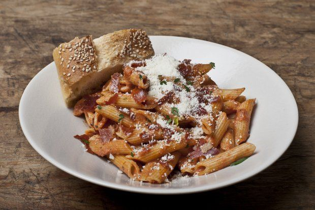 Penne A La Vodka with Crispy Prosciutto-Vodka sauce with a crunch!