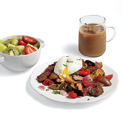 Steak Hash with Poached Eggs Recipes | campfire | Pinterest