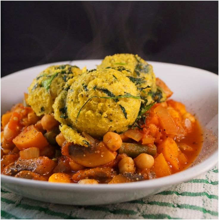 Spicy #Chickpea & #Mushroom Stew With Spinach Polenta #Dumplings 15 ...