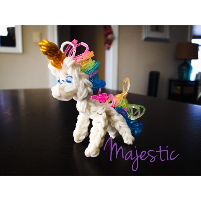 Rainbow Loom Amigurumi Unicorn : Majestic the unicorn rainbow loom Rainbow loom Pinterest