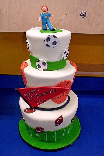 sports theme birthday cake