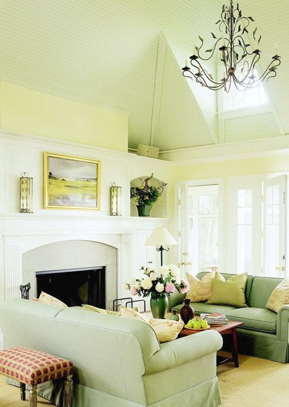 soft green and yellow paint color modern living room design