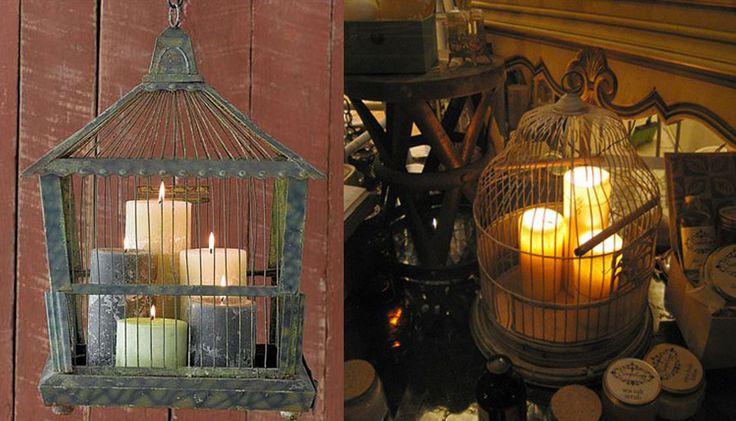 Velas: falando em iluminação, as gaiolas (use as de metal, e não as de madeira) podem ser usadas com velas em casa: