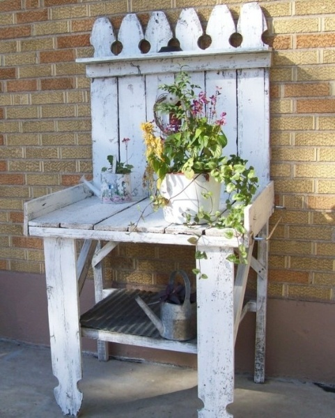 shabby chic potting bench looks like it was made from a section of