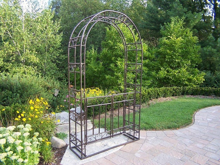 metal garden arbor with gate outdoor spaces and garden pinterest