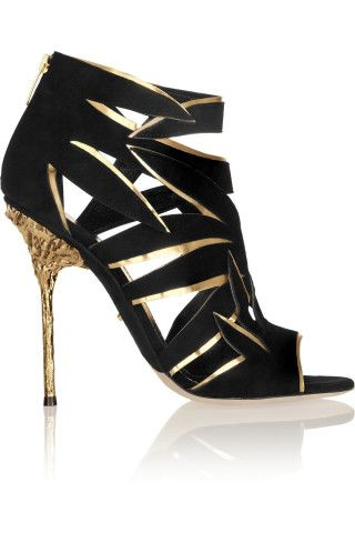 Sergio Rossi | Cutout suede and metallic leather sandals | NET-A