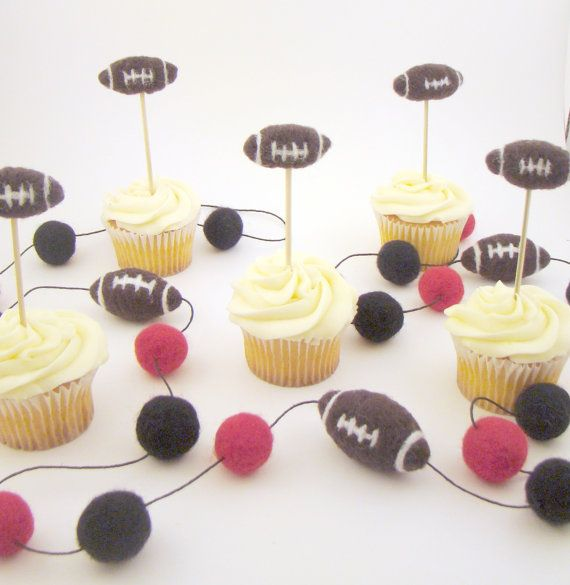 ... Birthday Cupcake Topper Picks 5 set, Felted Team Tailgate party