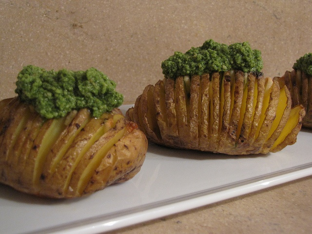 hasselback potatoes with spinach cashew pesto, I'm trying this today!