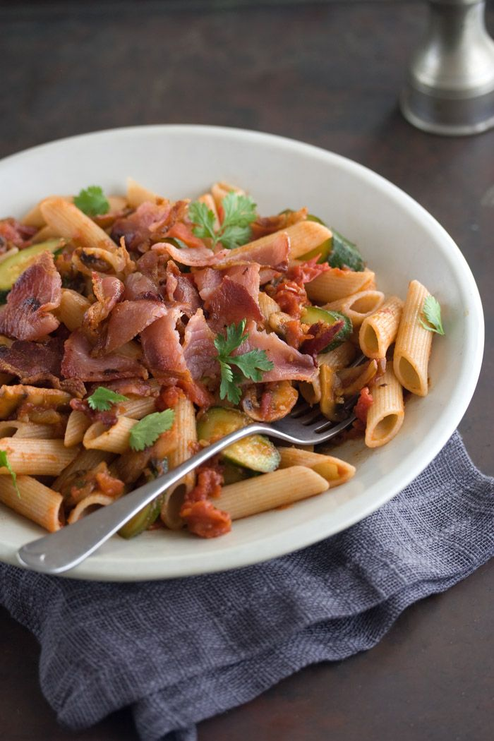 Zucchini, Mushroom and Bacon Penne in a Tomato and Chipotle Sauce