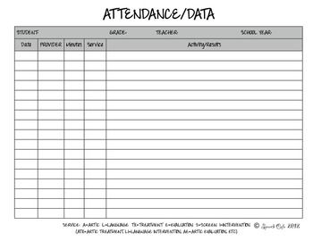 Speech Therapy Attendance Data Log Therapy Ideas Pinterest
