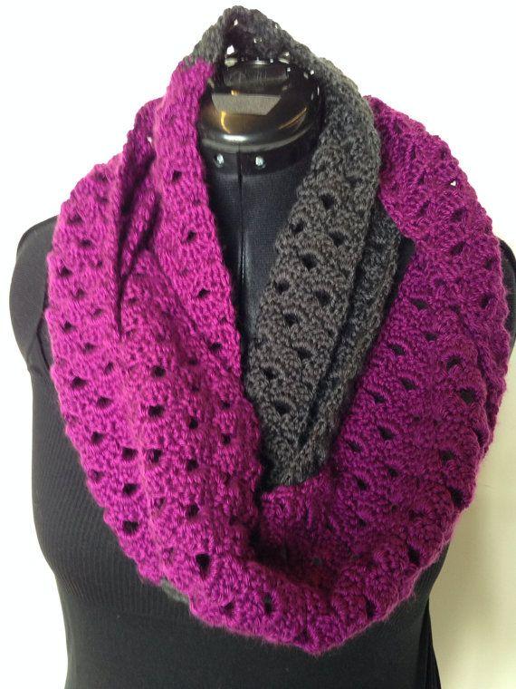Crochet Infinity Scarf Pattern Shell : Open Shell Stitch Color Blocked Infinity Scarf, crochet ...