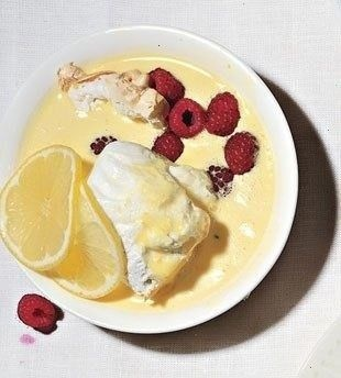 Floating Islands With Lemon-Scented Custard Sauce And Raspberries ...