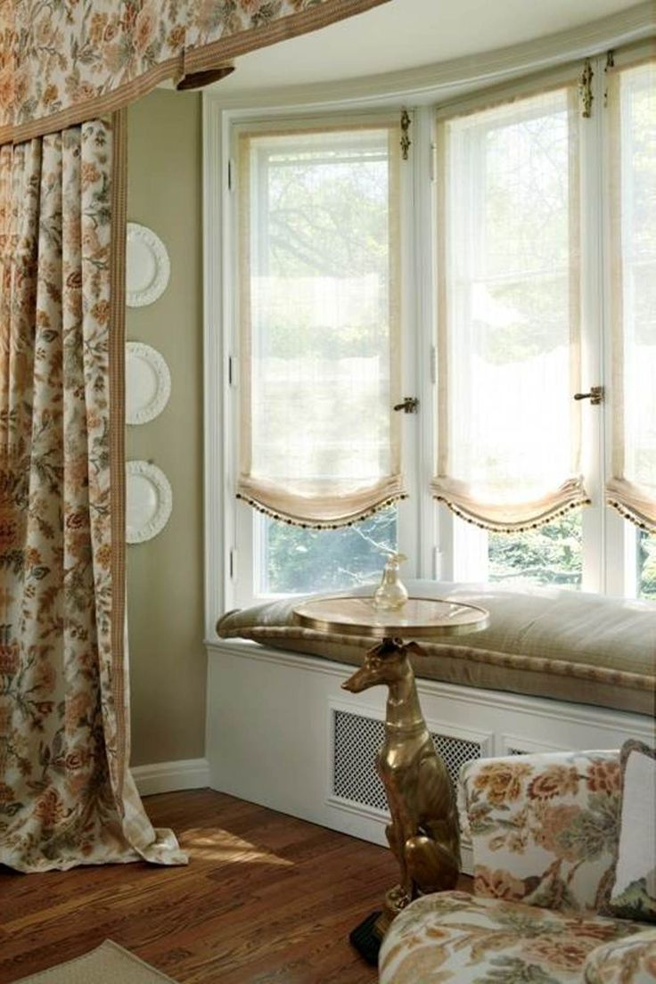 Pin by kimberley slater on window treatments ideas pinterest for Window treatments for a bay window