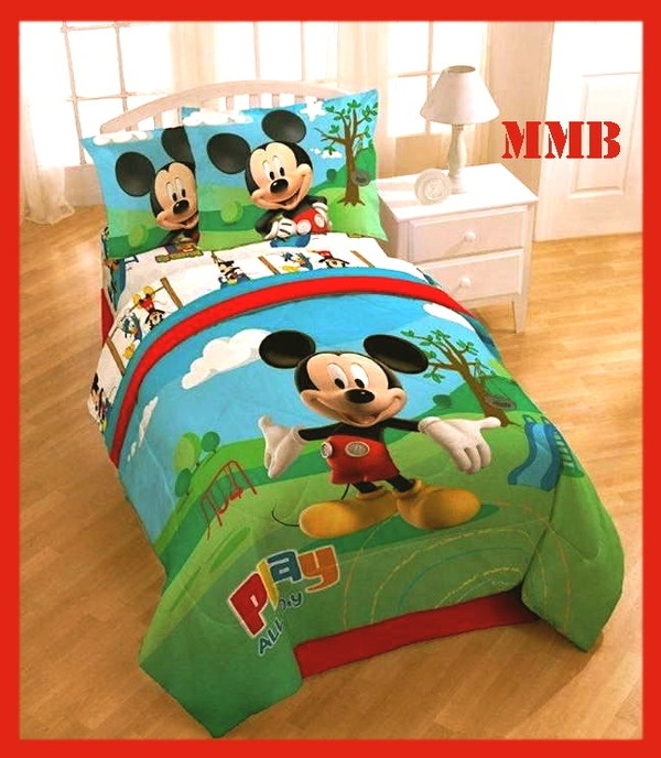 7pc twin single mickey mouse clubhouse comforter bedding shams bedski