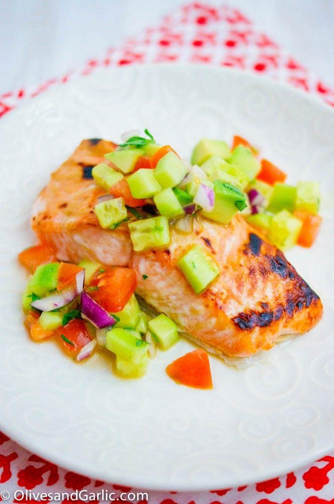 Dijon Salmon with Cucumber Avocado Salsa
